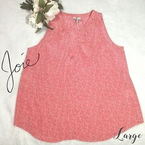 Joie 100% Silk Pink & White Dot Size Large Top